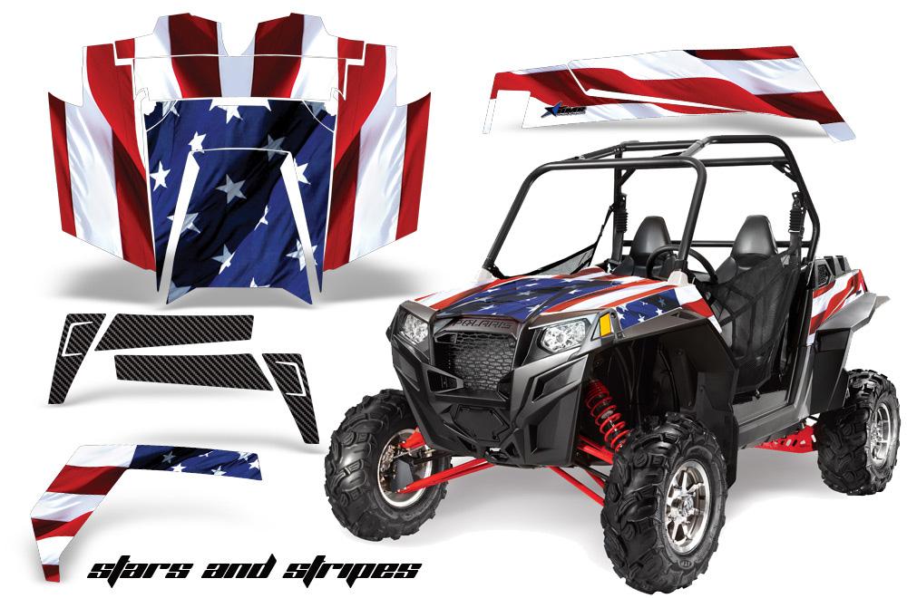AMR Racing  Full Custom UTV Graphics Decal Kit Wrap Stars & Stripes Polaris RZR XP 900 11-14