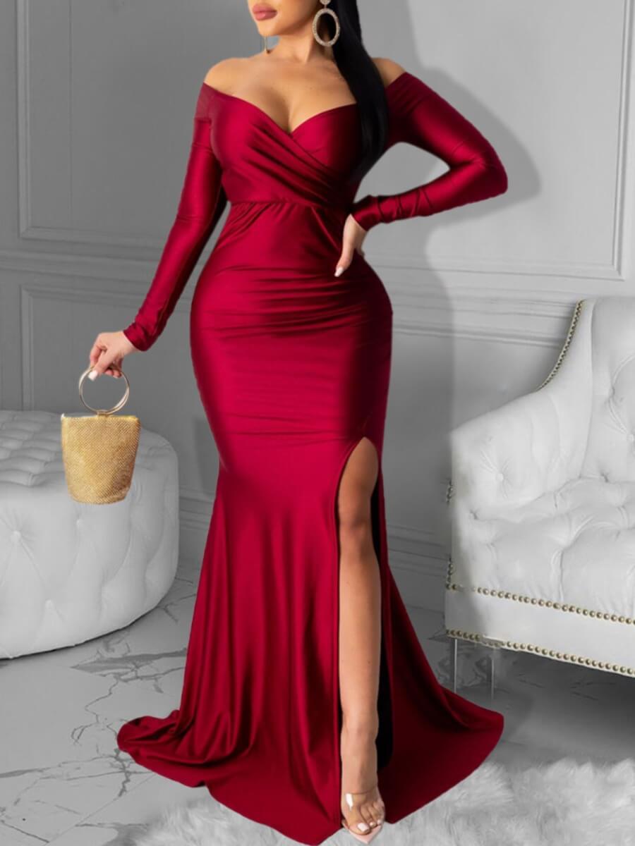 LW Lovely Party Dew Shoulder Side Slit Red Maxi Dress