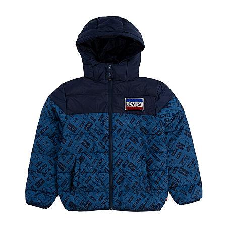 Levis Big Boys Heavyweight Puffer Jacket, Medium , Blue