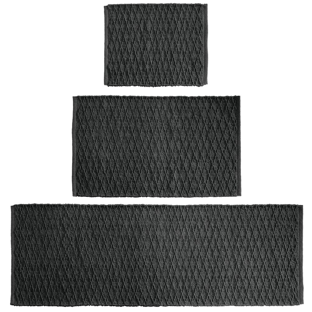 Cotton Spa Bath Mats with Diamond Pattern - Set of in Black, 17