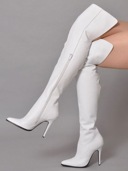 Milanoo White Thigh High Boots Womens PU Solid Color Pointed Toe Stiletto Heel Over The Knee Boots