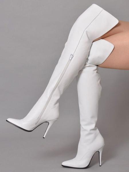 Milanoo Botas altas mujer blanco  de PU de tacon de stiletto de puntera puntiaguada 11cm Color liso Primavera Otoño Cremallera estilo street wear