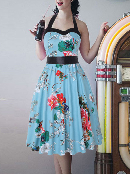 Milanoo Disfraz de 1950 Pin Up Girl Vestido vintage Vestido estampado floral Rockabilly