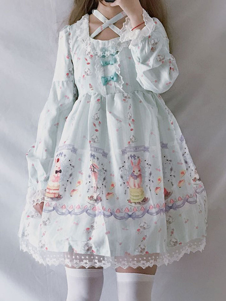 Milanoo Classic Lolita OP Dress Lace Trim Print Bow Black Lolita One Piece Dress