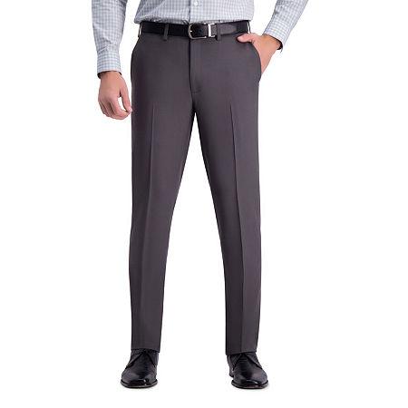 Haggar Premium Comfort Dress Pant Slim Fit Flat Front, 34 32, Gray
