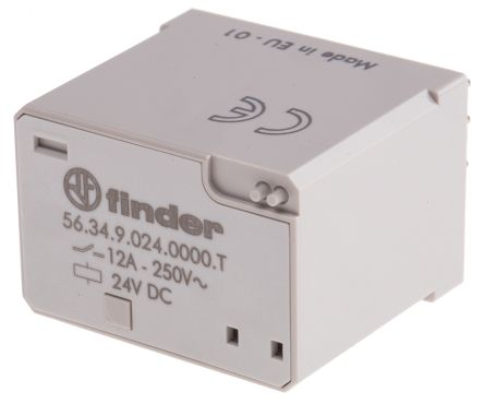 Finder , 24V dc Coil Non-Latching Relay 4PDT, 12A Switching Current Plug In, 4 Pole
