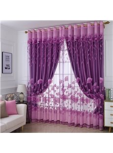 Dark Purple High Quality Burnout and Embroidered Floral Blackout Curtains