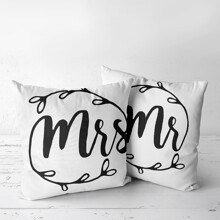 1pc Letter Graphic Cushion Cover