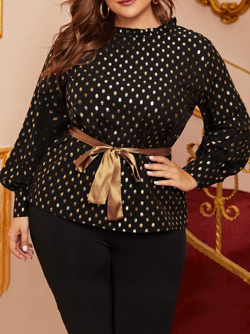 Ericdress Round Neck Lace-Up Polka Dots Long Sleeve Standard Blouse