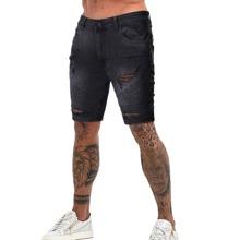 Shorts denim rotos de hombres con fruncido