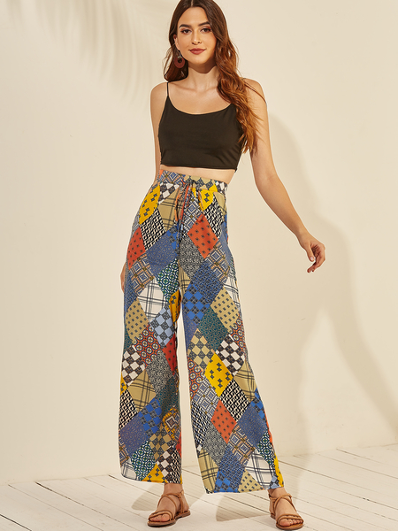 YOINS Multi Color Geometrical Pattern Drawstring Waist Pants