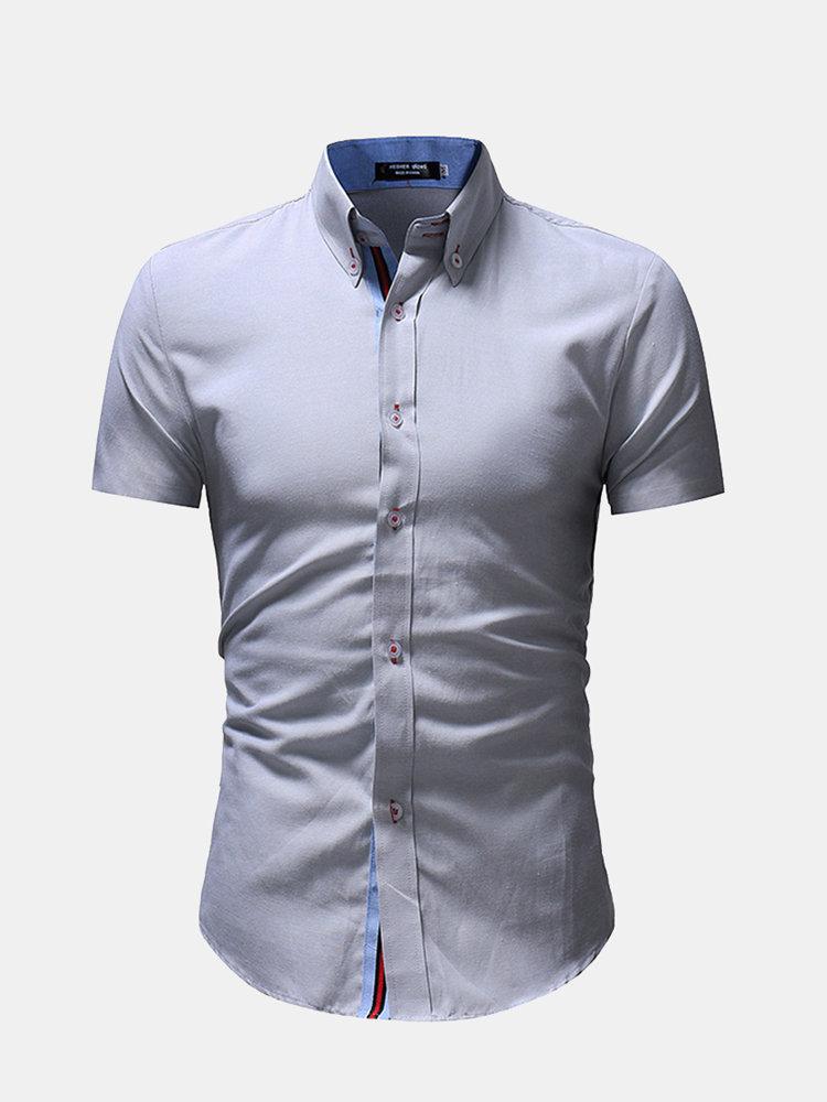 Slim Short Sleeve Button Striped Closure Cotton Fashion Casual Shirts for Men