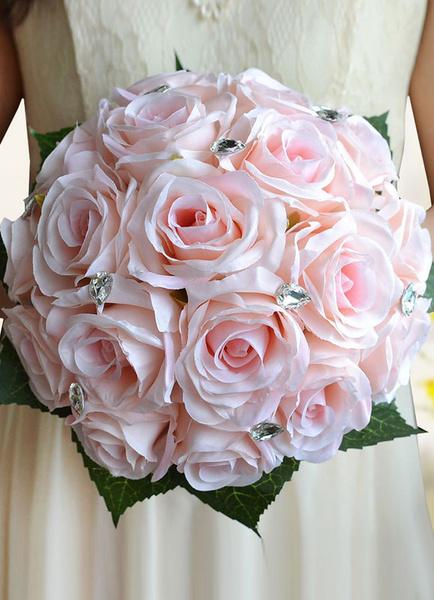 Milanoo Wedding Flowers Bouquet Light Pink Rhinestones Beaded Ribbons Bow Hand Tied Silk Flowers Bridal Bouquet