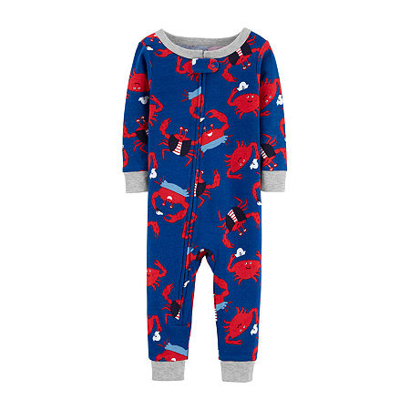 Carter's Baby Boys Knit Long Sleeve One Piece Pajama, 12 Months , Blue