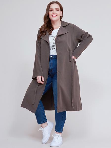 Yoins Plus Size Grey Drawstring Design Coat