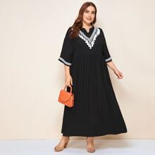 Plus Notch Neck Tassel & Tape Detail Smock Dress
