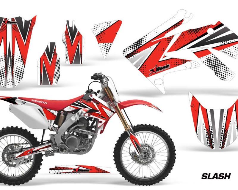 AMR Racing Dirt Bike Graphics Kit Decal Sticker Wrap For Honda CRF250R 2004-2009áSLASH RED WHITE