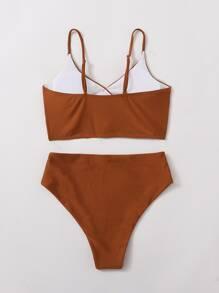 Surplice Neck High Waisted Bikini Swimsuit