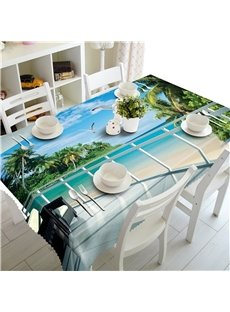 3D Blue sea and White Beach with Flaying Seagulls 3D Outdoors and Home Table Cover
