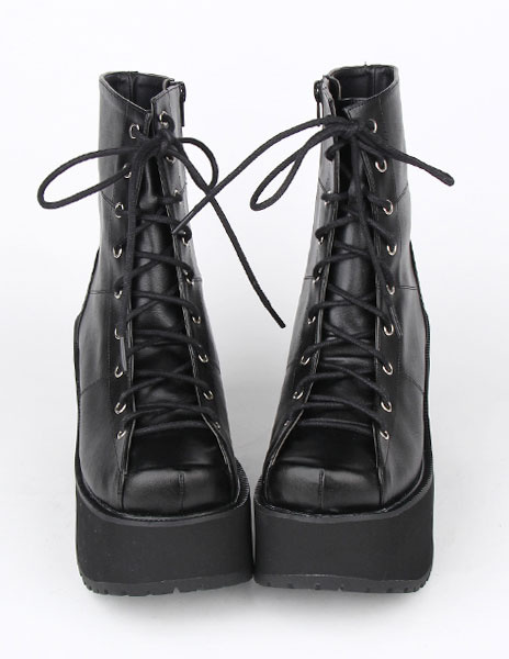 Milanoo Black Lace Up PU Lolita Boots for Girls