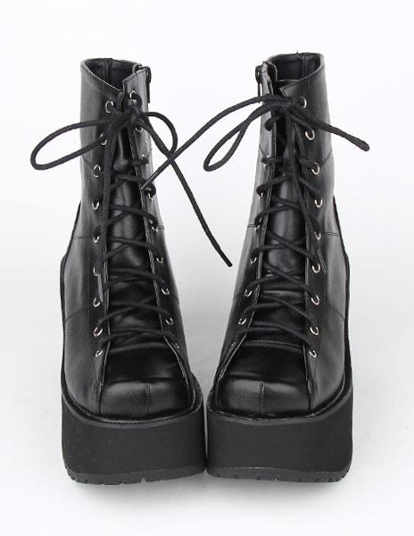 Milanoo Encaje negro PU Lolita botas para niñas