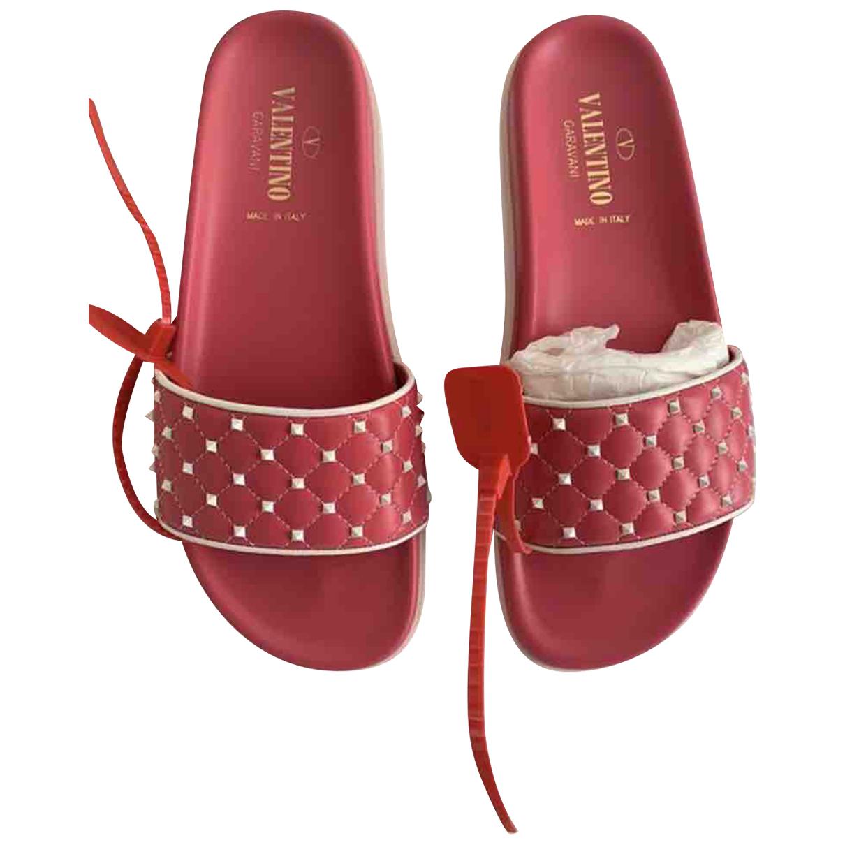 Valentino Garavani - Sandales   pour femme en cuir - rouge