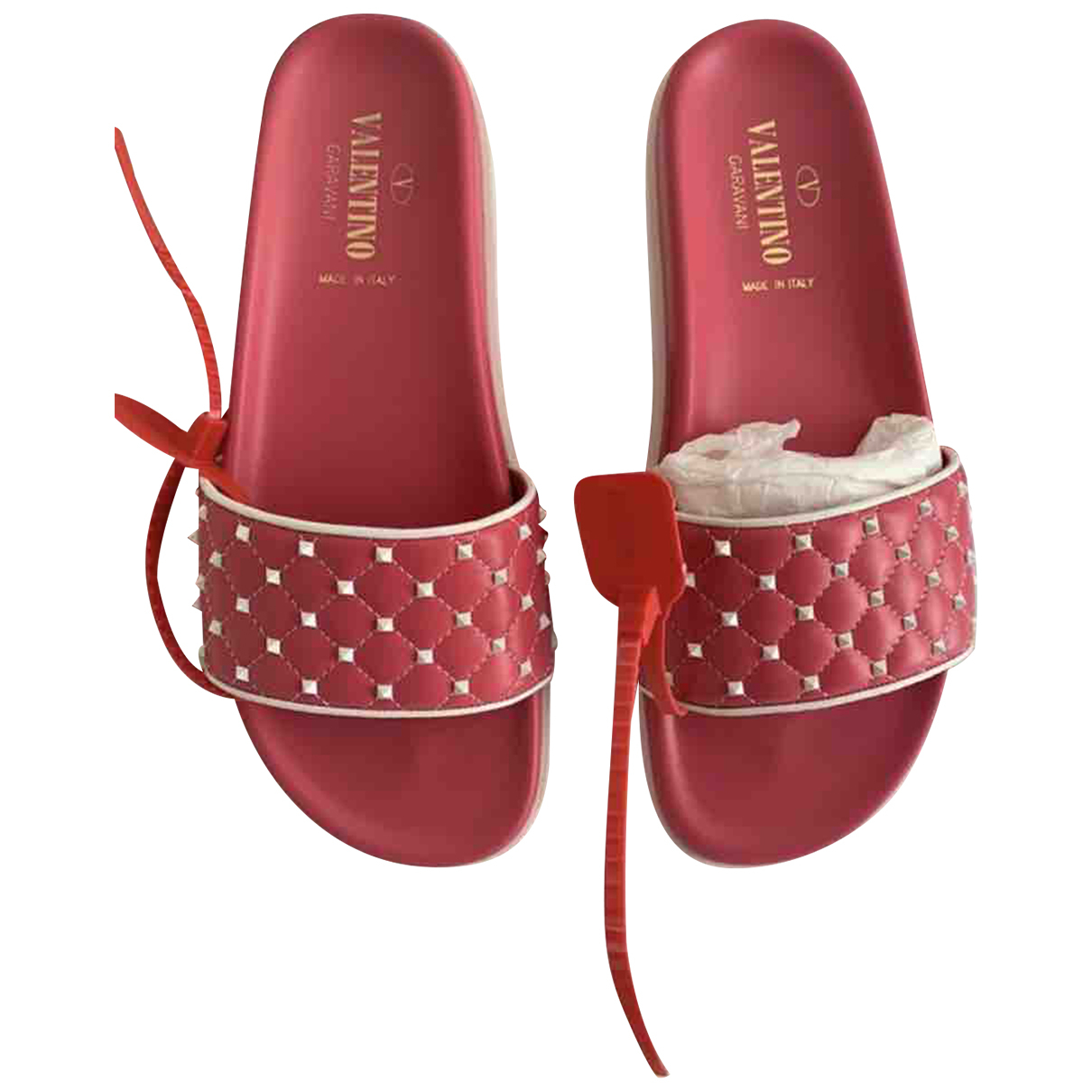 Valentino Garavani N Red Leather Sandals for Women 40 EU