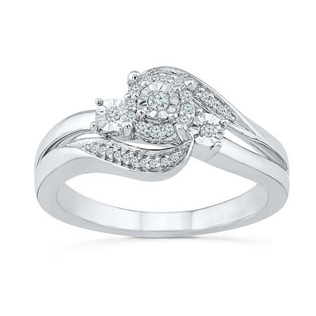 Promise My Love Womens 1/8 CT. T.W. Genuine White Diamond Sterling Silver Promise Ring, 8 , No Color Family