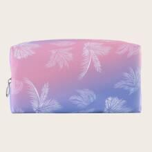 1pc Leaf Print Makeup Bag