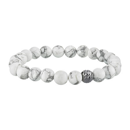 White Howlite Sterling Silver Beaded Bracelet, One Size , No Color Family