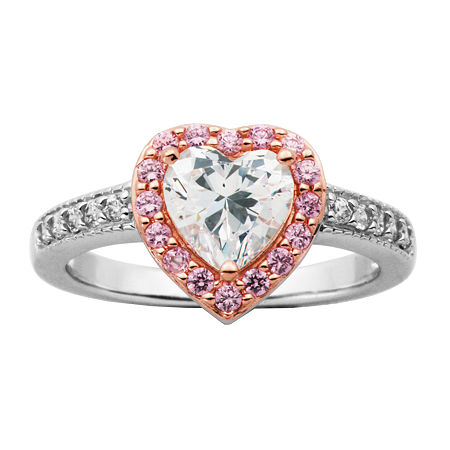 DiamonArt Womens 2 3/4 CT. T.W. White Cubic Zirconia 14K Rose Gold Over Silver Heart Cocktail Ring, 8 , No Color Family