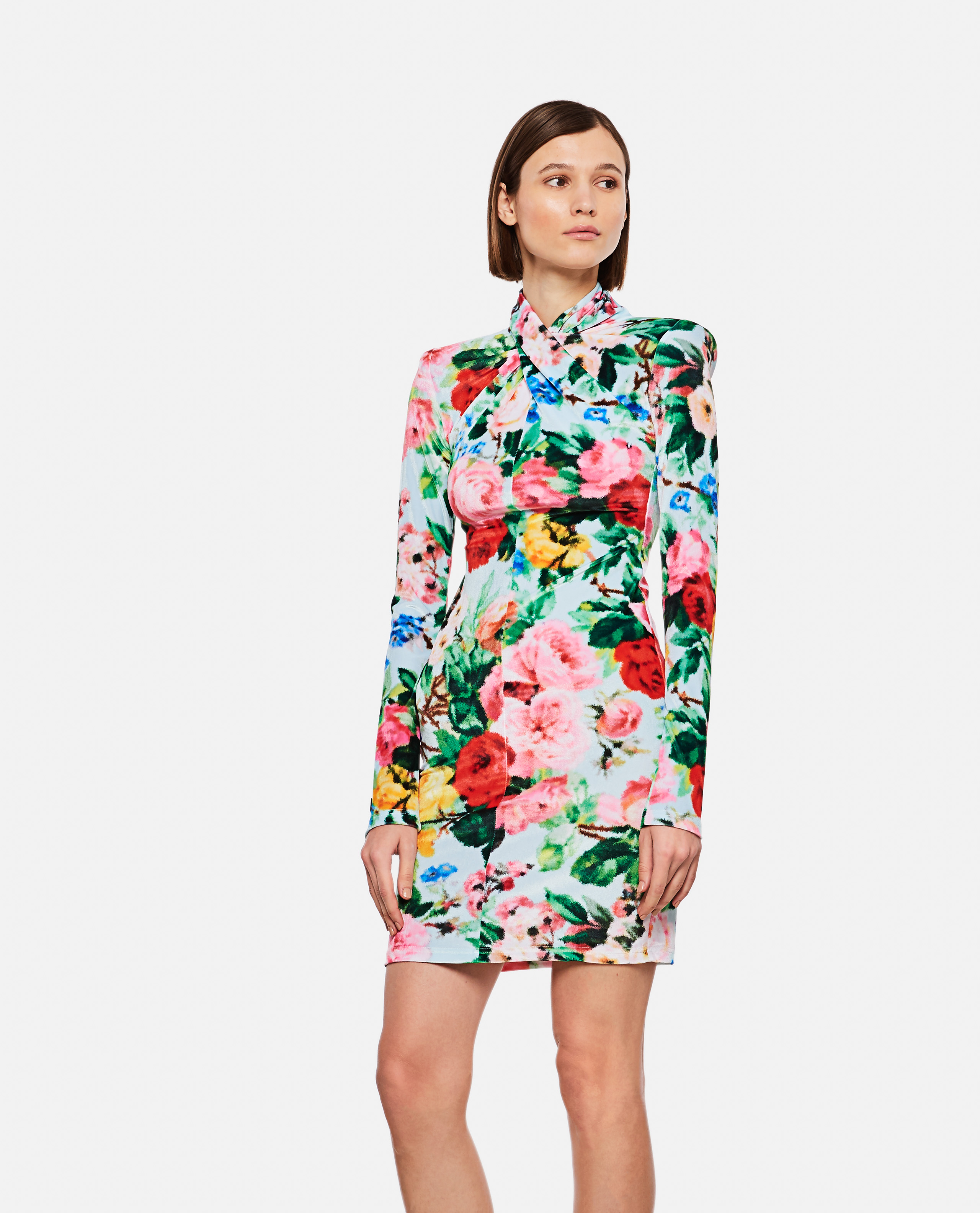 Dress with floral print twisted neck