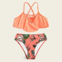 Kleinkind Maedchen Bikini mit Schosschen und Kreuzgurte
