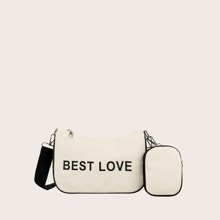 Letter Graphic Baguette Bag With Purse