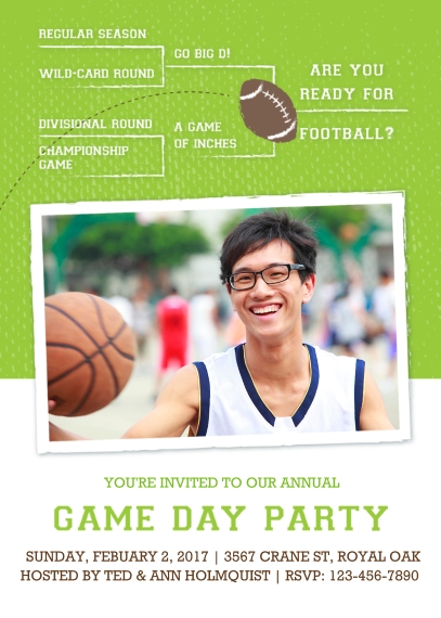 Party Invitations Flat Glossy Photo Paper Cards with Envelopes, 5x7, Card & Stationery -Game Day Bracket Card