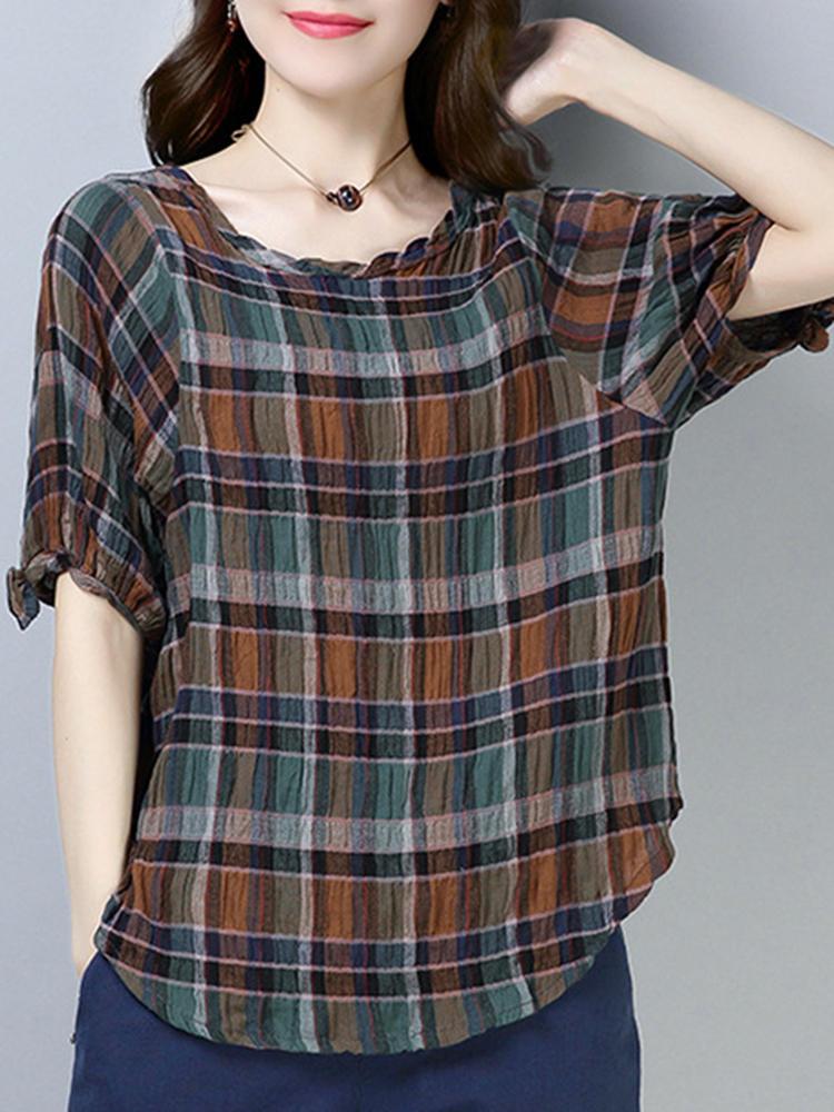 Short Sleeve Cotton Irregular Hem Plaid Blouse