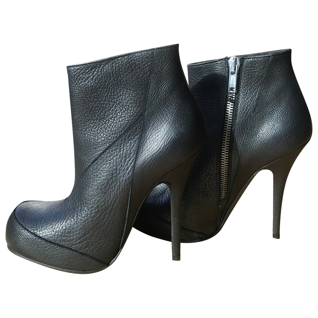 Rick Owens \N Black Leather Ankle boots for Women 41 EU