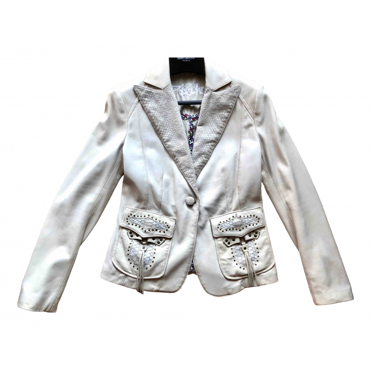 Pinko - Blouson   pour femme en cuir - blanc