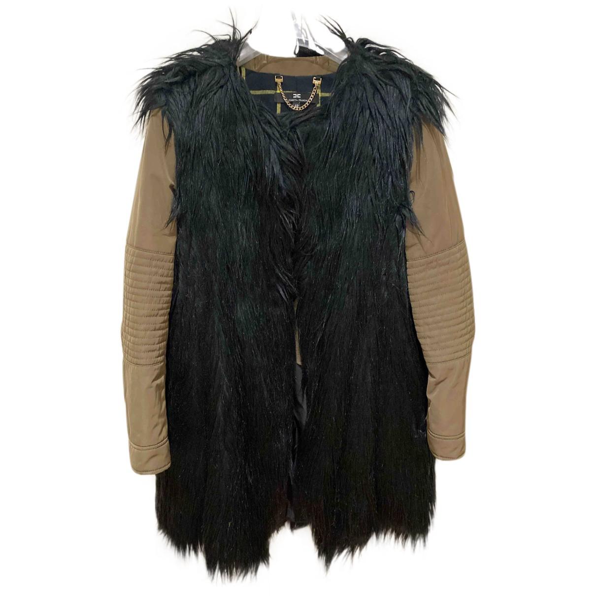 Elisabetta Franchi N Black Faux fur coat for Women 42 IT