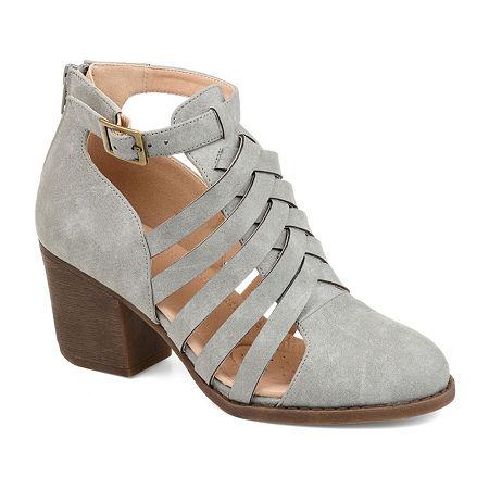 Journee Collection Womens Isadore Booties Block Heel Zip, 8 Medium, Gray