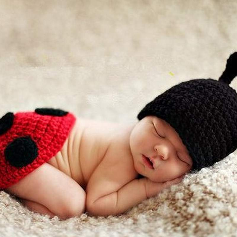 Cartoon Coccinella Septempunctata Design Knit Baby Cloth Photo Prop