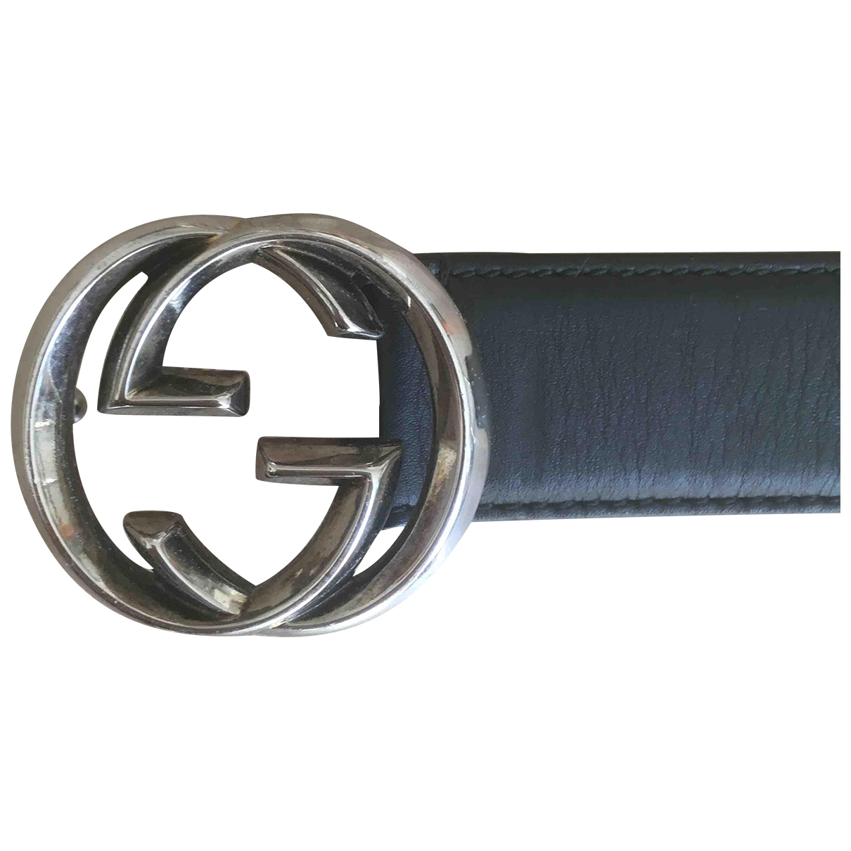 Gucci Interlocking Buckle Guertel in  Schwarz Leder