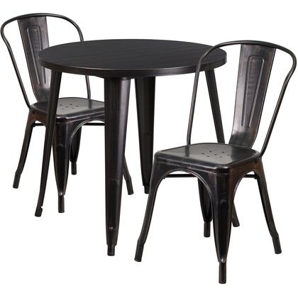 CH51090TH Collection CH-51090TH-2-18CAFE-BQ-GG 3 Piece Indoor-Outdoor Table Set with Cafe Chairs  Drain Holes  Round Table Top  Protective Rubber