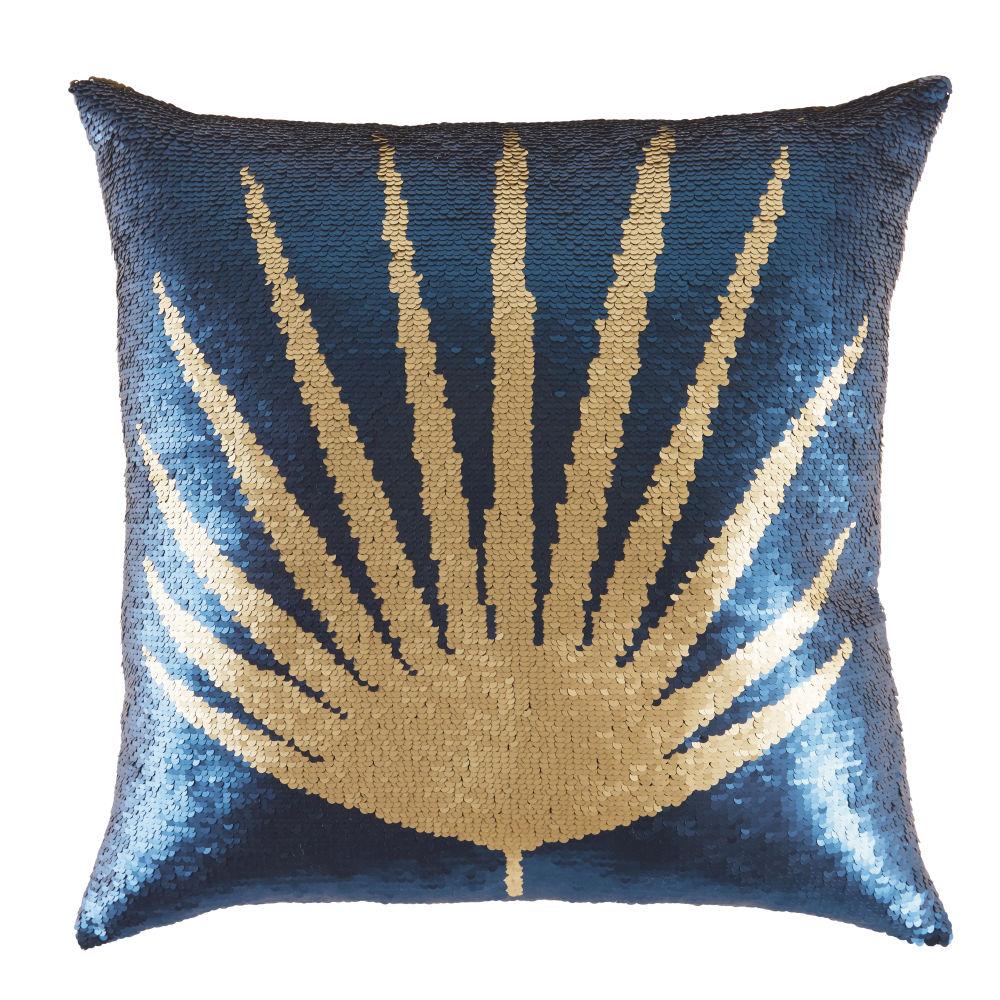 Kissen mit blauen und goldfarbenen Wende-Pailletten, bedruckt 45x45