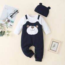 Baby Boy 2 In 1 Cartoon Bear Graphic Jumpsuit & Hat