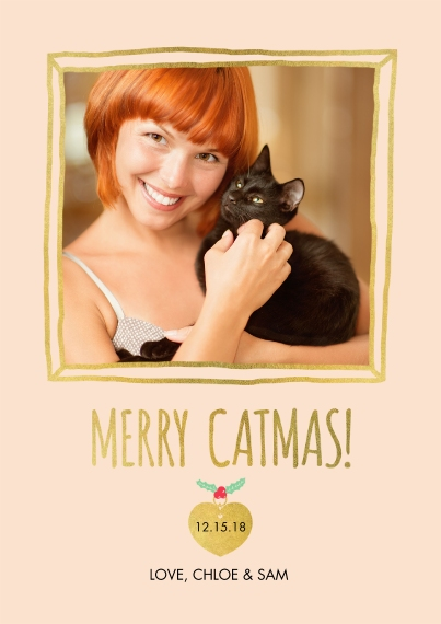 Christmas Photo Cards 5x7 Cards, Premium Cardstock 120lb with Scalloped Corners, Card & Stationery -Meowy Xmas