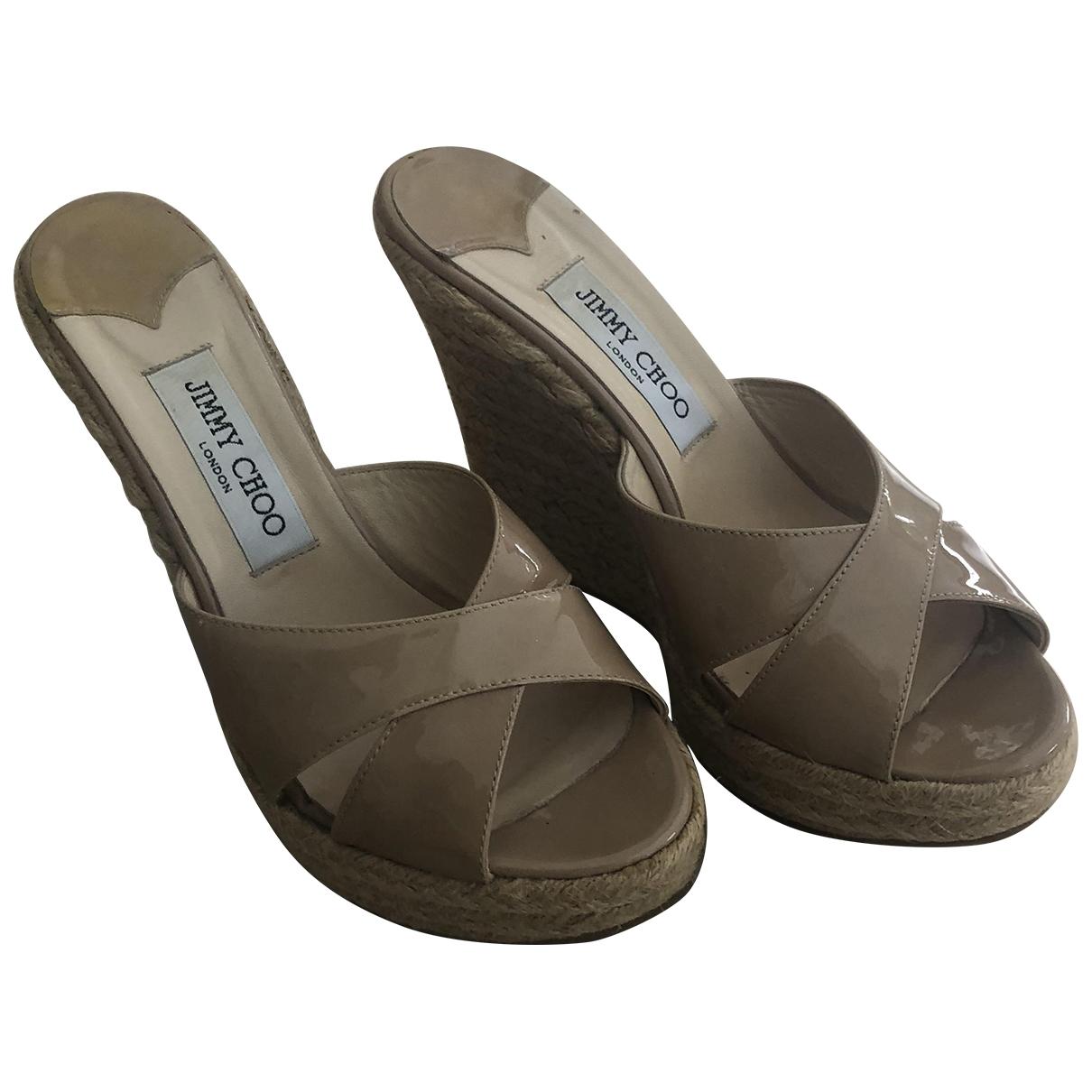 Jimmy Choo - Sandales   pour femme en cuir verni - beige