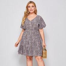 Kleid mit V-Kragen, Knopfen Detail und Gaensebluemchen Muster