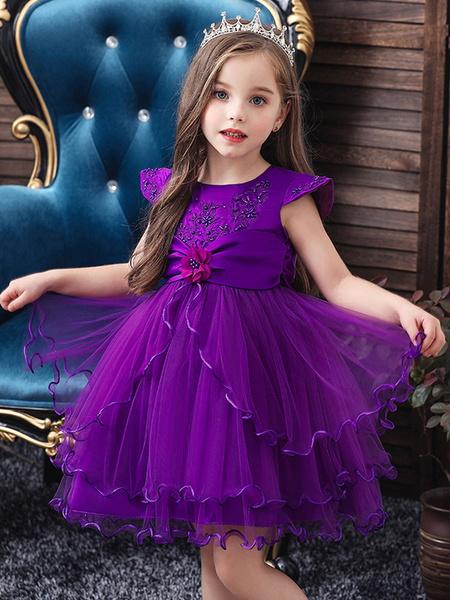 Milanoo Flower Girl Dresses Jewel Neck Short Sleeves Flowers Kids Party Dresses