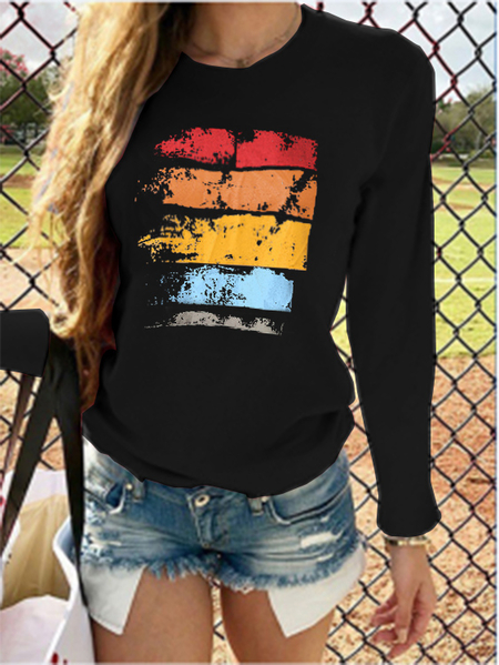 YOINS Color Block Print Crew Neck Long Sleeves Tee